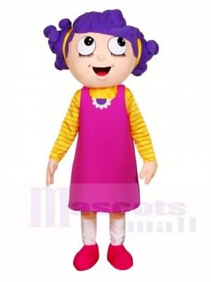 Lila Haar Mädchen Maskottchen Kostüme Menschen