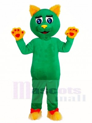 Grüne Katze mit gelben Ohren und Pfoten Maskottchen Kostüme Tier