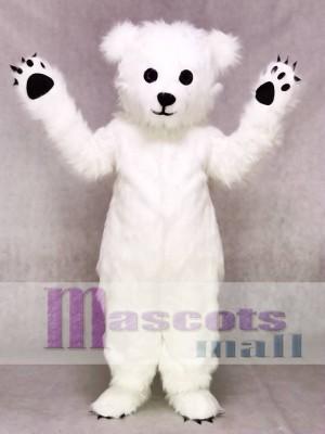 Weißer flaumiger polarer Bär Maskottchen Kostüm Tier