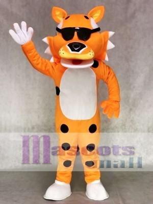 Niedlicher orange Chester Cheetah mit SunGlasses Maskottchen Kostüm Tier