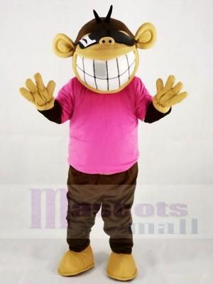 Lustiger Affe im rosa T-Shirt Maskottchen Kostüm Tier