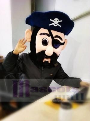 Kapitän Blythe Pirate Mascot Head NUR in Marine blau