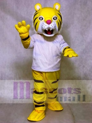 Happy Tiger in White Shirt Mascot Costumes Animal