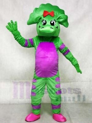 Grüner Dinosaurier mit Lila Bauch Maskottchen Kostüme