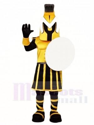 Schwarze und gelbe Spartan Knight Maskottchen Kostüme Menschen