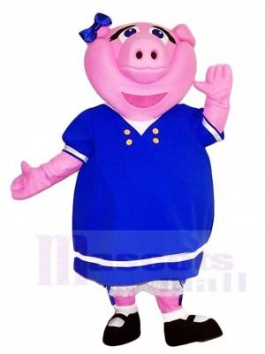 Pink Pig in Blue Dress Mascot Costumes Farm Animal