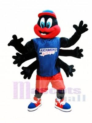 Schwarz Spinne Maskottchen Kostüm Richmond Spiders Maskottchen Kostüme