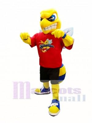 Gelb und Royal Blue Hornet Maskottchen Kostüm Insekt Maskottchen Kostüme