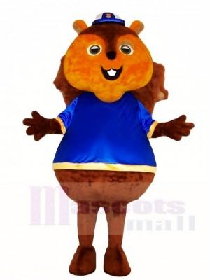Braun Eichhörnchen im blauen Hemd Maskottchen Kostüme Tier