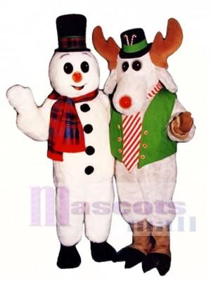 Niedlicher Snow Buddy Schneemann mit Hut & Schal Maskottchen Kostüm Weihnachten Xmas