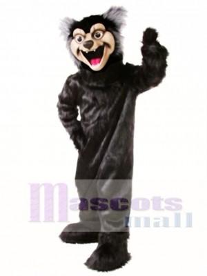 Nettes schwarzes Wolf Maskottchen Kostüm