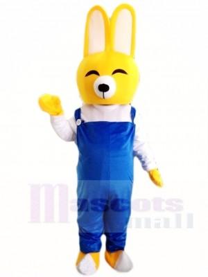 Gelber Kaninchen Osterhase mit blauem Overall Maskottchen Kostüm Tier