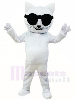 Weiße Katze mit Sonnenbrille Maskottchen Kostüm Karikatur