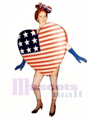 Niedliches Herz von Amerika Maskottchen Kostüm