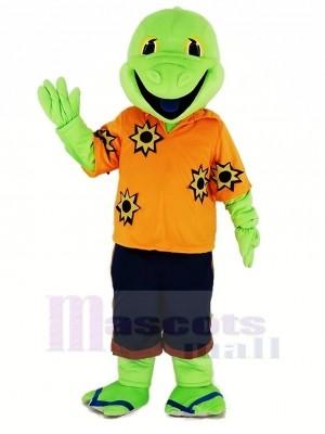 Grün Eidechse mit Orange T-Shirt Maskottchen Kostüm Karikatur