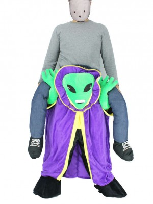 Carry Me Alien mit Umhang Pick Me Up Maskottchen Kostüm
