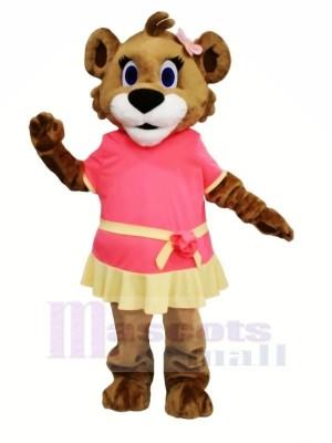 Weiblich Löwe mit Kleid Maskottchen Kostüme Karikatur