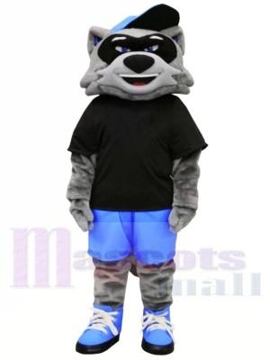 Cool Waschbär mit Schwarz T-Shirt Maskottchen Kostüme Tier