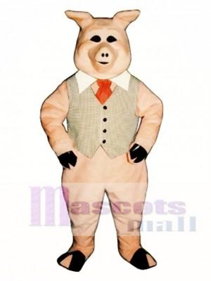 Süßes Pierre Schwein mit Weste, Krawatte und Kragen Maskottchen Kostüm