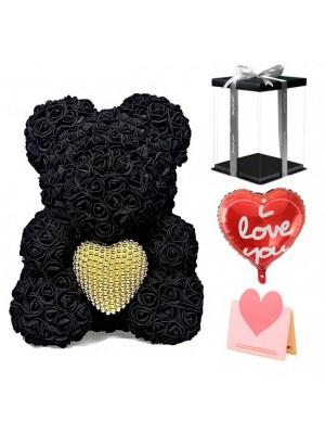 Schwarz Rose Teddybär Blumenbär mit Perlenherz Bestes Geschenk für Muttertag, Valentinstag, Jubiläum, Hochzeit und Geburtstag