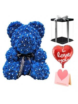 Diamant Königsblau Rose Teddybär Blumenbär Bestes Geschenk für Muttertag, Valentinstag, Jubiläum, Hochzeit und Geburtstag