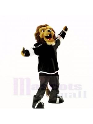 Hochschulsport-Löwe mit schwarzer Hemd-Maskottchen-Kostüm-Schule