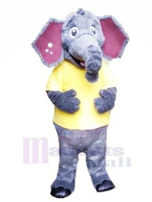 Flauschige Elefant mit Gelb T-Shirt Maskottchen Kostüme