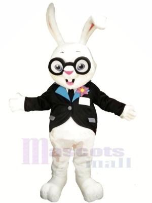 Weiß Hase mit Brille Maskottchen Kostüme Tier