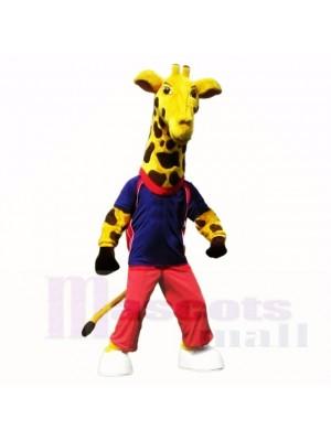 Sport Giraffe mit Blau Hemd Maskottchen Kostüme Schule