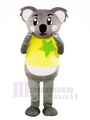 Grau Koala mit Gelb T-Shirt Maskottchen Kostüme Karikatur