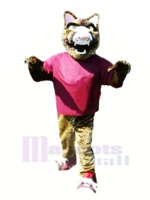 Heftig Jaguar mit Lila T-Shirt Maskottchen Kostüme