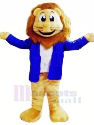 Löwe mit Blau Jacke Maskottchen Kostüme Karikatur