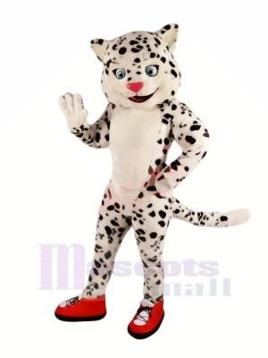 glücklich Schnee Leopard Maskottchen Kostüme Karikatur