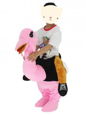 Kinder Huckepack tragen mich auf rosa Strauß Maskottchen Kostüme