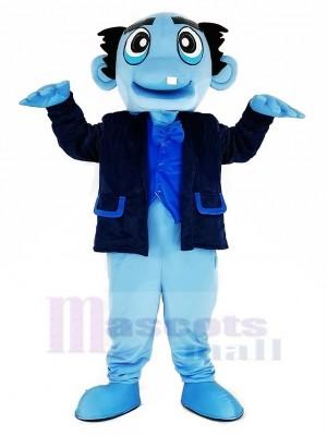 Blau Geist mit Schwarz Mantel Maskottchen Kostüm
