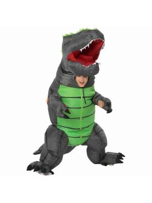 Grau T-Rex Dinosaurier Aufblasbar Kostüm Luft Schlag oben Party Passen zum Erwachsener/Kind