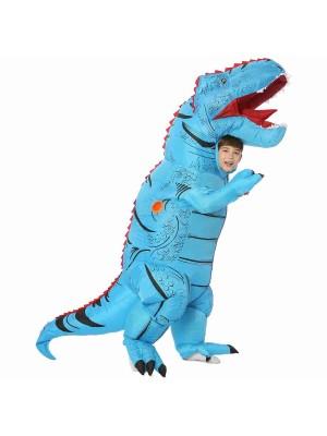 Blau T-Rex Dinosaurier Aufblasbar Kostüm Luft Schlag oben Party Passen zum Erwachsener/Kind