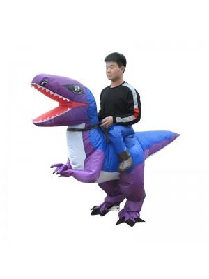 Blau und Lila Velociraptor Dinosaurier Tragen mich Reiten auf Aufblasbar Kostüm zum Erwachsene