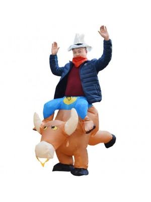 Braun Kuh Tragen mich Reiten auf Aufblasbar Kostüm Halloween Weihnachten zum Erwachsener/Kind