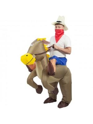 Braun Pferd Tragen mich Reiten auf Aufblasbar Kostüm Halloween Weihnachten zum Erwachsener/Kind
