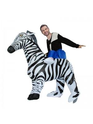 Zebra Tragen mir Reiten auf Aufblasbar Kostüm Halloween Weihnachten Overall zum Erwachsener/Kind