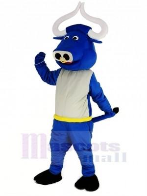 Blau Muskel Stier Ochse Maskottchen Kostüm Tier