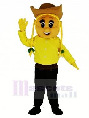 Cowgirl im Gelb Maskottchen Kostüm Menschen