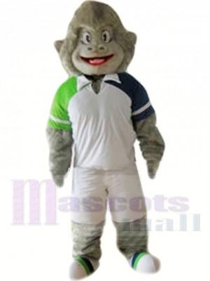Sportlicher grauer Gorilla Maskottchen Kostüm