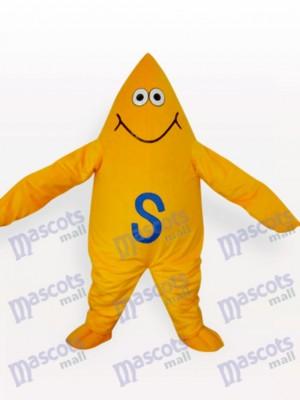 Gelbes Starfish Karikatur erwachsenes Maskottchen Kostüm