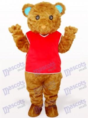 Brauner Langhaar Bär mit roter Weste Tier Maskottchen Kostüm