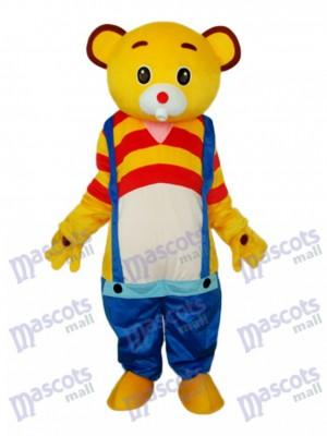 Gelber Bär Tragen blaue Overall Maskottchen Erwachsenen Kostüm Tier