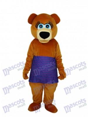 Braunbär in lila Rock Maskottchen Erwachsenen Kostüm Tier
