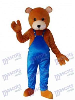 Teddybär mit blauem Overall Maskottchen Kostüm für Erwachsene Tier