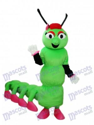 Grüner Wurm mit langen Schwanz Maskottchen Erwachsenen Kostüm Insekt